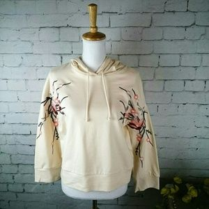 NWT For the Republic floral embroidered hoodie